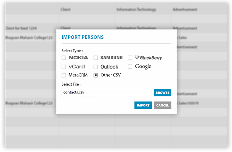 Import data from any datasource into MeraCRM