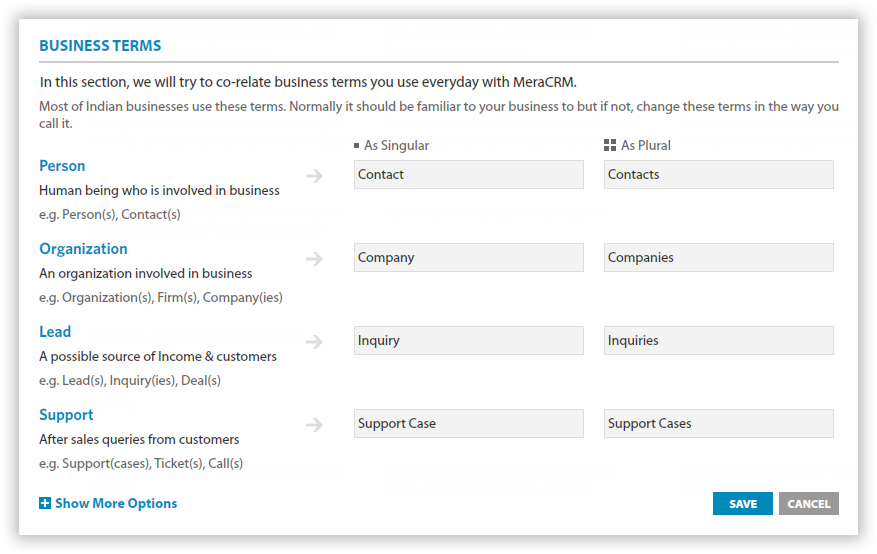 Easy customization in MeraCRM - use local words for business terms related to support service.