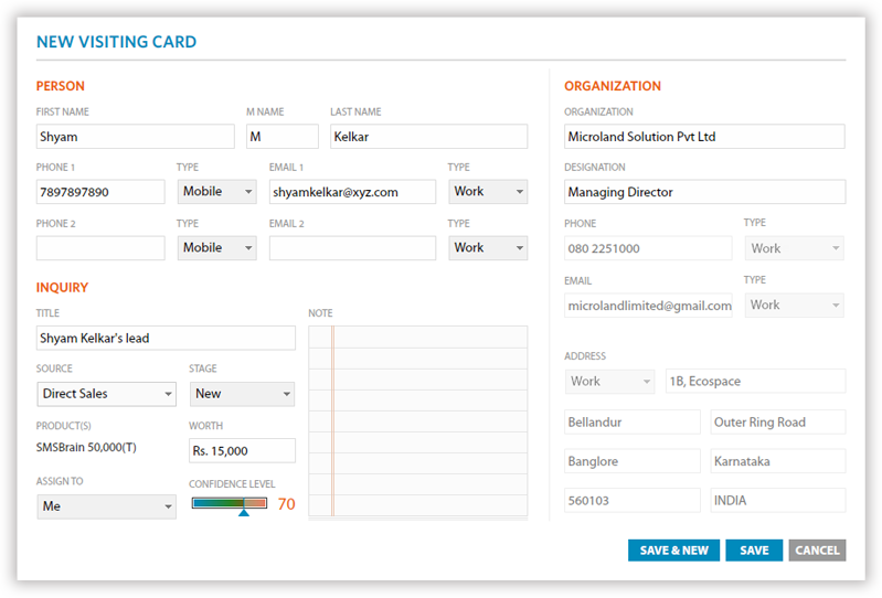 A single visiting card entry to create a Person, Lead and Client at the same time.